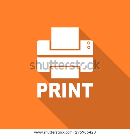 printer flat design modern icon with long shadow for web and mobile app  - stock photo