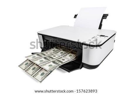 Printer printing fake dollar bills - stock photo