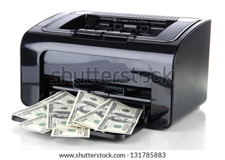 Printer printing fake dollar bills isolated on white - stock photo