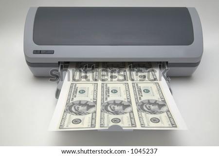 Printer with 1000000 dollar bills - stock photo