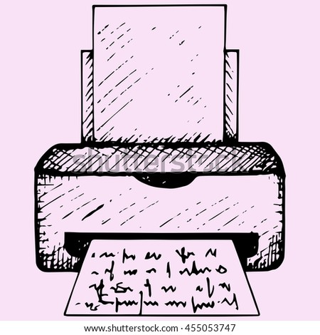 printer with paper doodle style sketch illustration hand drawn raster   - stock photo