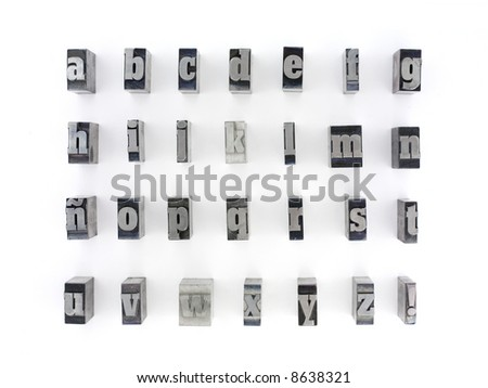 Printers blocks with spanish alphabet. Lower case letters. - stock photo