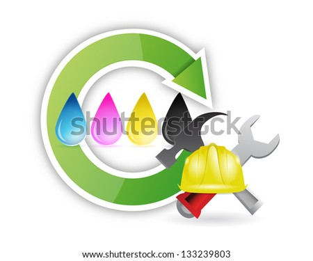 printing cmyk issues illustration design over a white background - stock photo