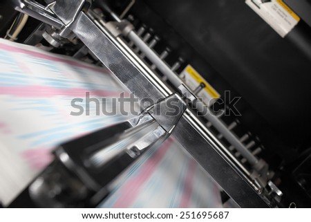 Printing machine in the work - stock photo