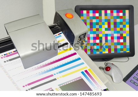 Printing Press color management control unit. Display of spectrophotometer measured values density and Lab - stock photo