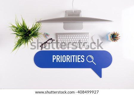 PRIORITIES Search Find Web Online Technology Internet Website Concept - stock photo