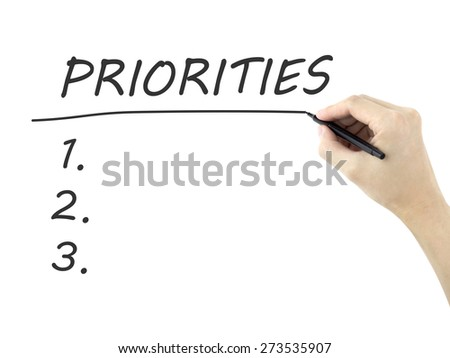 priorities word written by man's hand on a white board - stock photo