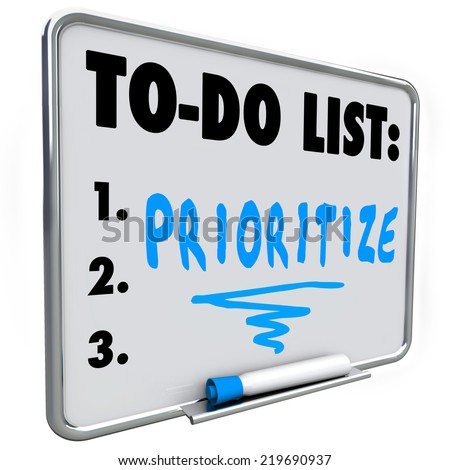 Prioritize word on a to do list written on a dry erase board to help you manage your jobs or tasks in your busy workload - stock photo