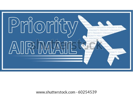 Priority Air Mail stamp, sticker or seal. - stock photo