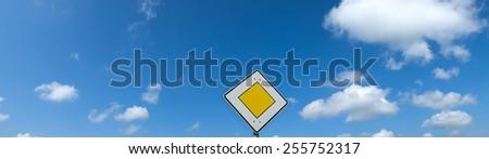 priority road sign panorama format - stock photo