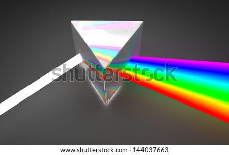 Prism light spectrum dispersion. On dark background - stock photo