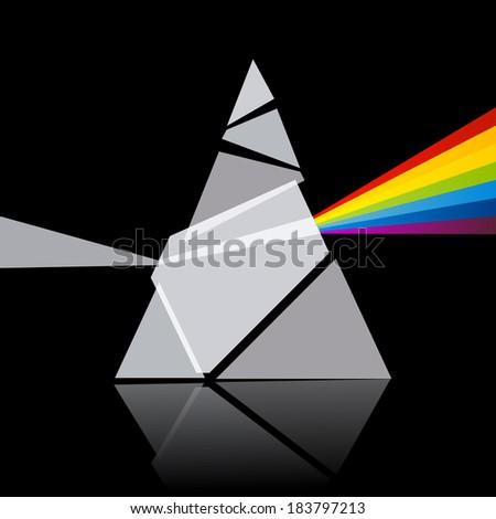 Prism Spectrum Illustration on Black Background - stock photo