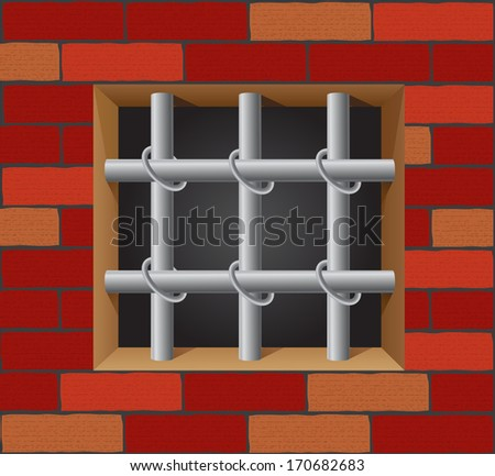 prison bars on brick wall illustration - stock photo