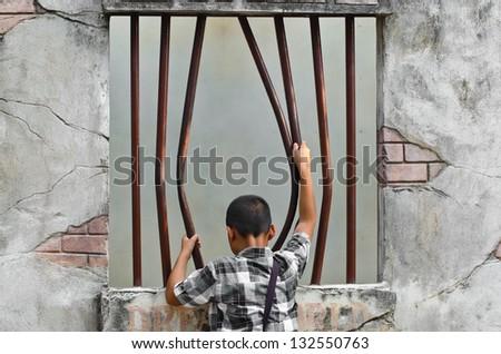 Prison break. - stock photo