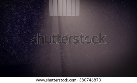 Prison cell interior , sunrays coming through a barred window. - stock photo