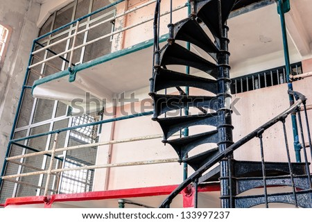 Prison Cells at Alcatraz Island Cell Block A - stock photo
