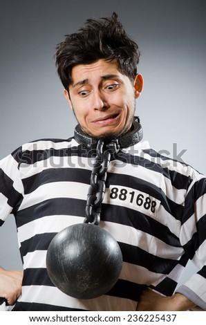Prison inmate in funny concept - stock photo