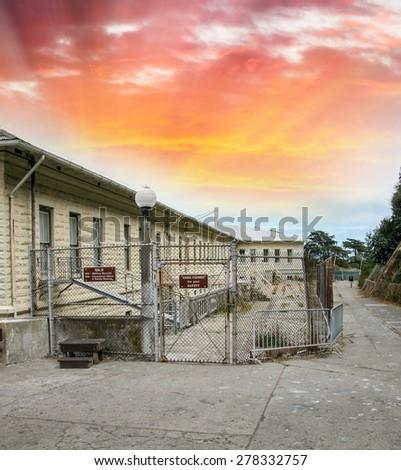 Prison Island of Alcatraz. - stock photo