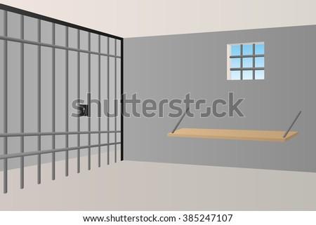 Prison jail room interior window grille illustration  - stock photo