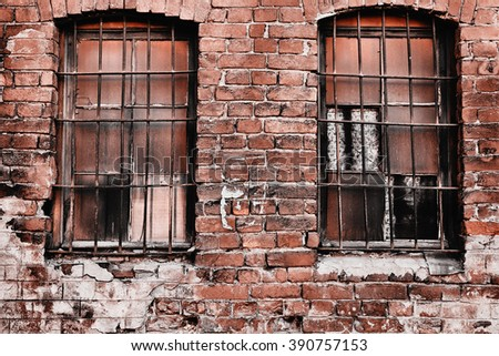 prison. old brick wall .window with prison bars. prison window. prison bar. prison building. grim old prison bars. prison cell. western. - stock photo