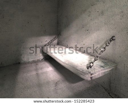 Prison. Old grunge interior. 3d illustration - stock photo