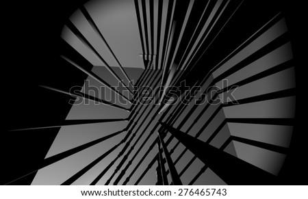 prison shadow scene - stock photo