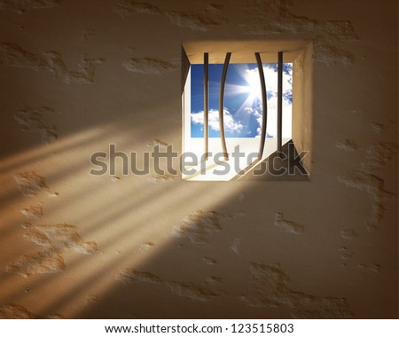 Prison window. Freedom concept - stock photo