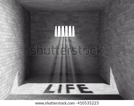 Prison with light and Life Shadow through a barred window. 3d Rendering - stock photo