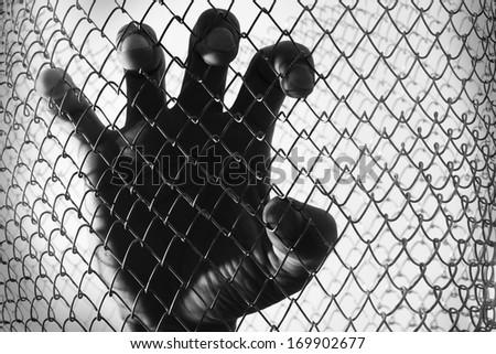prisoner hand - stock photo