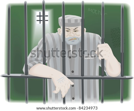 Prisoner in jail - stock photo