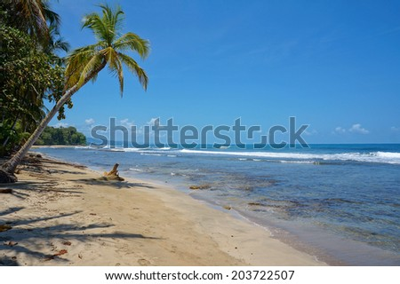 Pristine Caribbean beach in Costa Rica, playa Chiquita, Puerto Viejo de Talamanca - stock photo