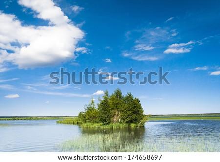 Pristine Nature Lake Serenity  - stock photo