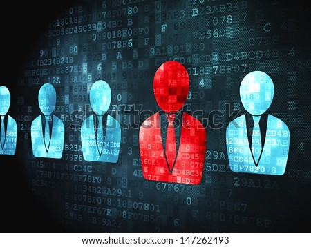 Privacy business concept: pixelated Business Man icon on digital background, 3d render - stock photo