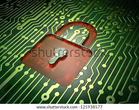 Privacy concept: circuit board with Closed Padlock icon, 3d render - stock photo