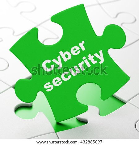 Privacy concept: Cyber Security on Green puzzle pieces background, 3D rendering - stock photo