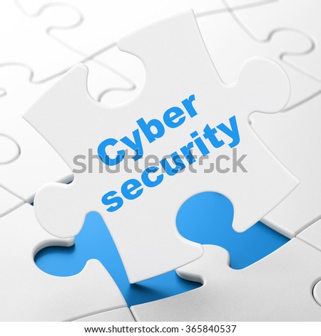 Privacy concept: Cyber Security on puzzle background - stock photo