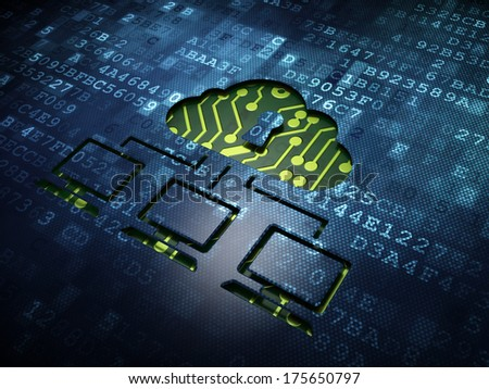 Privacy concept: digital screen with icon Cloud Network, 3d render - stock photo