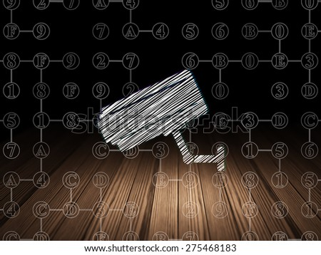 Privacy concept: Glowing Cctv Camera icon in grunge dark room with Wooden Floor, black background with Scheme Of Hexadecimal Code, 3d render - stock photo