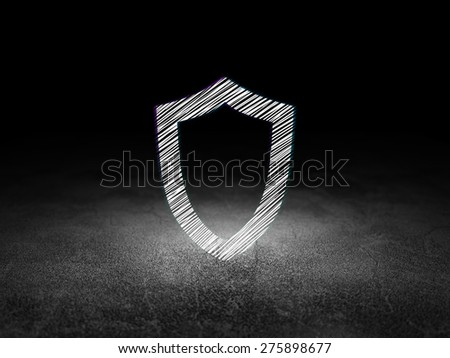 Privacy concept: Glowing Contoured Shield icon in grunge dark room with Dirty Floor, black background, 3d render - stock photo