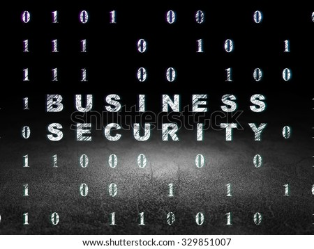 Privacy concept: Glowing text Business Security in grunge dark room with Dirty Floor, black background with Binary Code - stock photo