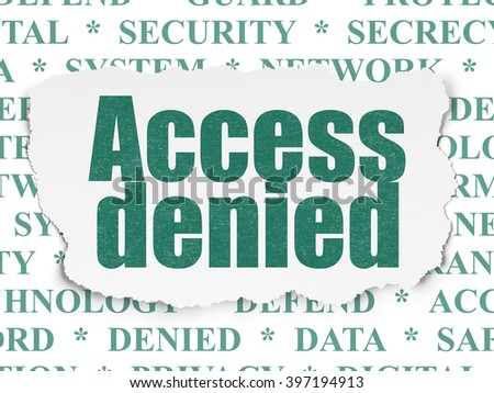 Privacy concept: Painted green text Access Denied on Torn Paper background with  Tag Cloud - stock photo