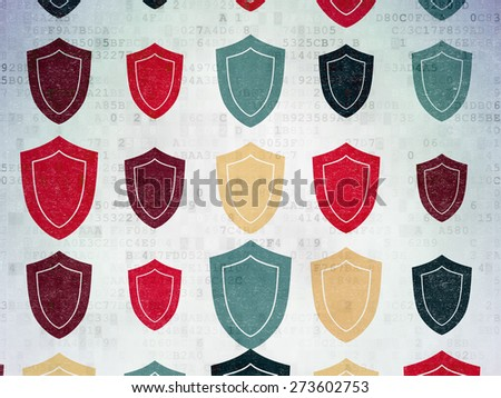 Privacy concept: Painted multicolor Shield icons on Digital Paper background, 3d render - stock photo