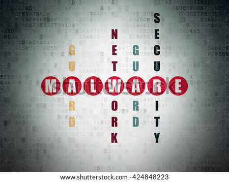 Privacy concept: Painted red word Malware in solving Crossword Puzzle on Digital Data Paper background - stock photo