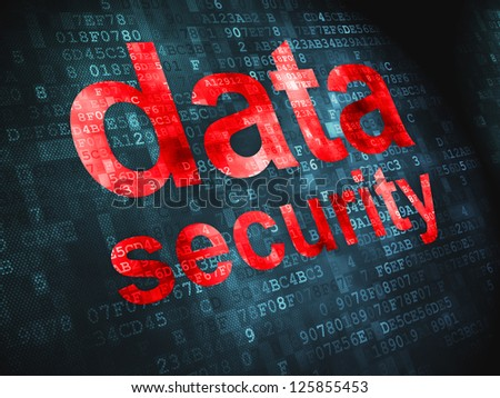 Privacy concept: pixelated words Data Security on digital background, 3d render - stock photo