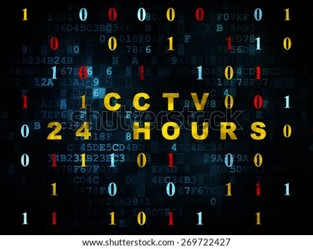Privacy concept: Pixelated yellow text CCTV 24 hours on Digital background with Binary Code, 3d render - stock photo