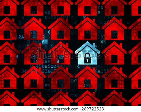 Privacy concept: rows of Pixelated red home icons around blue home icon on Digital background, 3d render - stock photo