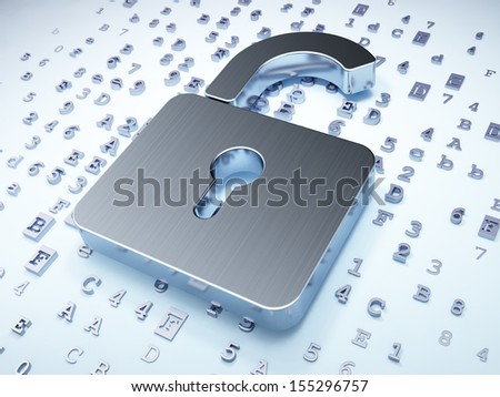 Privacy concept: Silver Opened Padlock on digital background, 3d render - stock photo