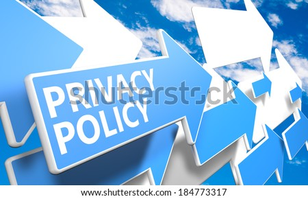 Privacy Policy 3d render concept with blue and white arrows flying in a blue sky with clouds - stock photo