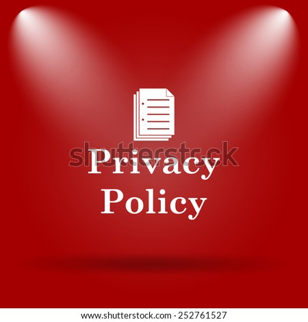 Privacy policy icon. Flat icon on red background.  - stock photo