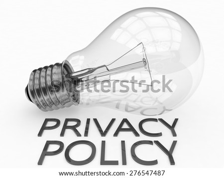 Privacy Policy - lightbulb on white background with text under it. 3d render illustration. - stock photo
